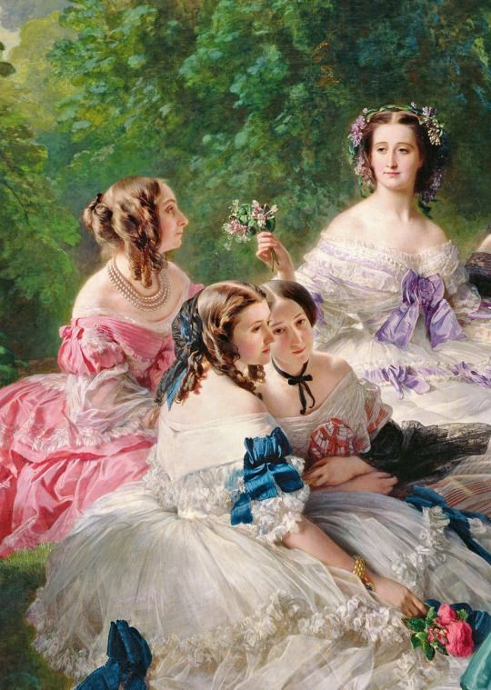 Franz Xaver Winterhalter -The Empress Eugйnie Surrounded Her Ladies in Waiting (details), 1855: